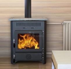 Печь на дровах с водяным контуром MBS Thermo Vulkan черная + камень. Фото 2