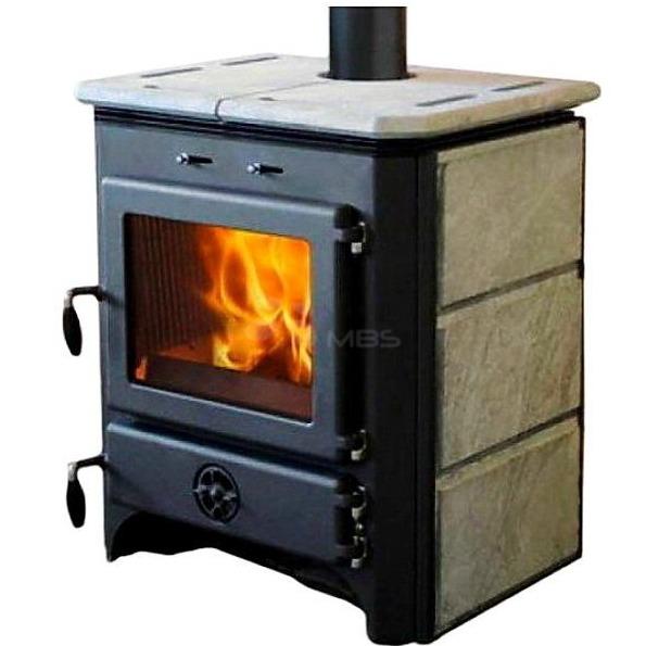 Піч на дровах з водяним контуром MBS Thermo Vulkan чорна + камінь