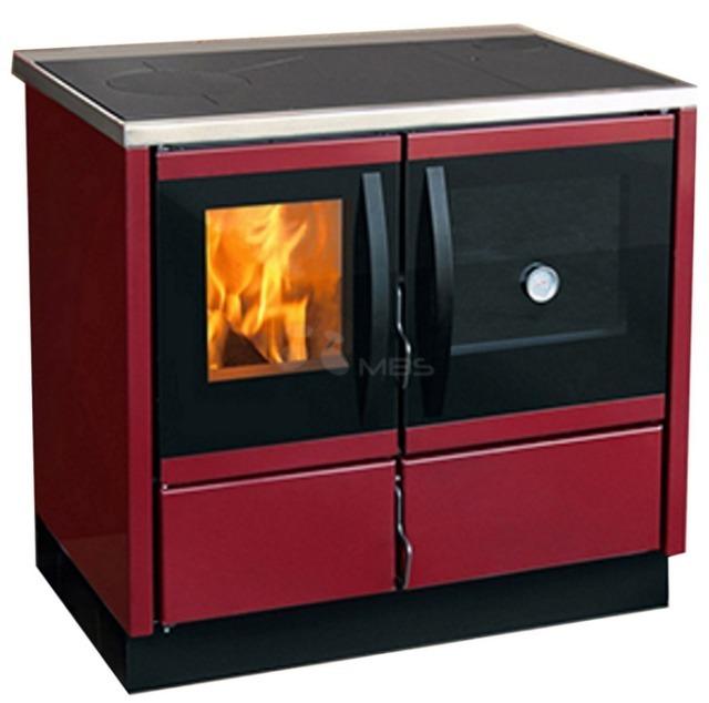 Отопительно-варочная печь с водяным контуром MBS Thermo Rocky красная