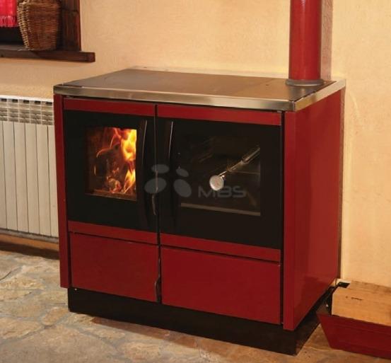 Отопительно-варочная печь с водяным контуром MBS Thermo Rocky красная. Фото 2