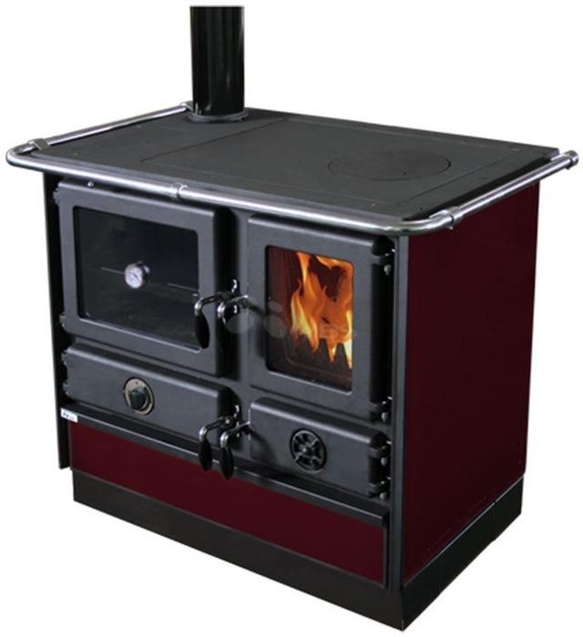 Отопительно-варочная печь с водяным контуром MBS Thermo Magnum L бордо