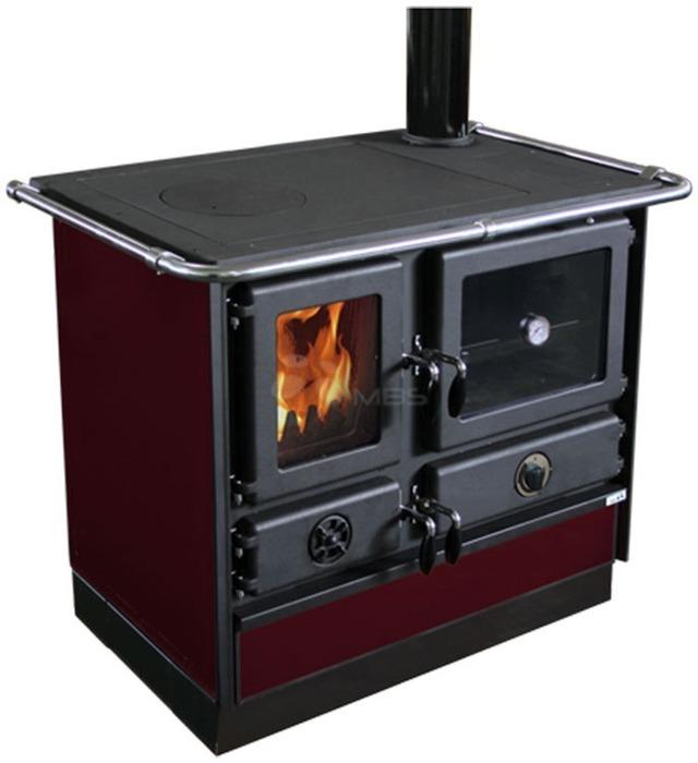 Отопительно-варочная печь с водяным контуром MBS Thermo Magnum R бордо